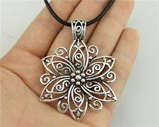 5pcs silver Color big flower Pendant Size 66*47mm Leather Chain Necklace