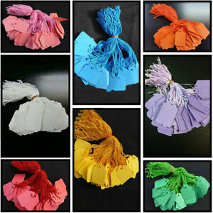 1000 COLOURED KRAFT STRUNG STRING TAGS SWING PRICE TICKET JEWELLERY TIE ON LABEL