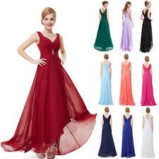 AU Women V Neck Asymmetrical Hem Formal Cocktail Evening Gown Bridesmaid Dress