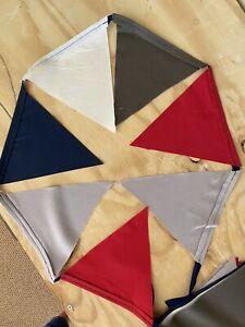 Handmade Garland Flag Bunting 12 Ft Navy, Red, Cream, Dark Grey, Lt Gray Decor