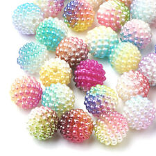 200pcs Rainbow Gradient Acrylic Beads Combined Berry Imitation Pearls 10mm 12mm