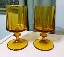 "Lot 2 Footed 70s heavy ribbed drinking yellow Pedestal Amber glasses 10oz, 6.5""h"