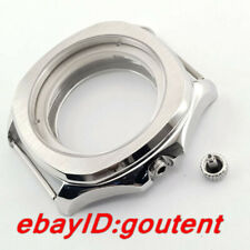 40mm watch Case Silver Sapphire Crystal fit ETA 2836 Miyota 8215 821A Movement
