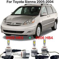 For Toyota Sienna 2005-2004 Car LED Headlight Kits 9005 9006 High Low Beam Bulbs