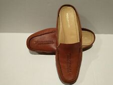 $89 New ROCKPORT British Tan Woven Pebbled Soft LEATHER MULES SHOES Slides 11M