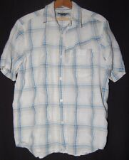 Quicksilver Mens SS Shirt White Blue Plaid Button Up Small S Surfer Skater
