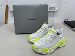 Balenciaga Kids Triple S Lace-Up Sneakers - White / Yellow - US Size 13
