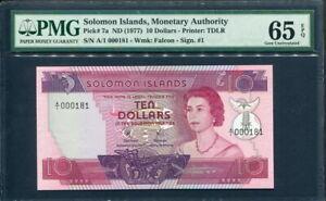 Solomon Islands 1977, 10 Dollars, P7a, s/n : 000181, PMG 65 EPQ GEM UNC