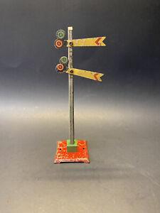 Vintage 1930s Prewar Marx Pressed Tin Model Railroad Dual Crossing Signal Set