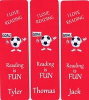 3 CHILDRENS PERSONALISED BOOKMARKS 'FOOTBALL' COLOUR RED. 18cm x 5cm.LAMINATED