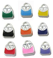 18Pcs mixed color enamel handbag bead fit charm bracelet