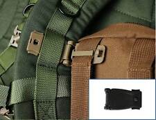 26mm Black Webbing Strap Buckle Clip, Connect MOLLE Military Army Bag Backpack
