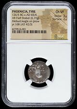 Awesome Authentic Phoenicia Tyre Silver Half Shekel - Melkart & Eagle, NGC CH VF