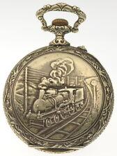 """ÜBERGROSSE ARGENTAN  PRUNK-TASCHENUHR """"Relief Dampf- Eisenbahn"""" von ca 1880"""