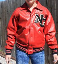 Vintage Red Leather Letterman Jacket with NG Letter