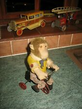 More details for lovely antique 1919 automaton wind up bing monkey bike tin toy germany tinplate
