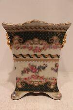 "Beautiful Flower Design Porcelain Square Flower Pot Famille Rose Gold Gild 7"""