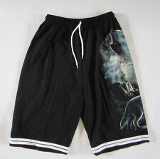 Wolves Howling Moon in the Dark Black Board Shorts -Free Size -NEW