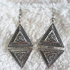 Vintage Womens Antique-Silve-Tone Patterned Triangle Charms Dangle Hook Earrings