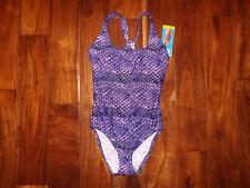 NWT Womens SPEEDO Purple One Piece Swim Suit Light Padded Size 12