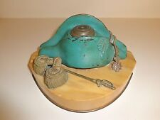 MID 1800's FRENCH NAPOLEON HAT BRONZE INKWELL ON MARBLE BASE RARE