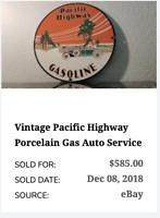"""VINTAGE NOS PACIFIC HIGHWAY GASOLINE RACE CAR! 11 3/4"""""""" PORCELAIN METAL OIL SIGN"""