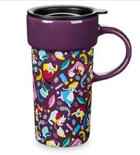 DISNEY STORE ALICE in WONDERLAND CERAMIC PURPLE TRAVEL TEA COFFEE MUG NEW + LID