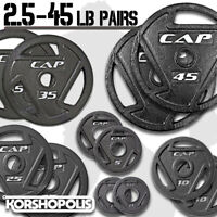 """Weight Plates Olympic Size PAIRS Home Gym Exercise Solid Cast Iron 2"""" Holes NEW"""