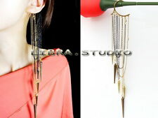 Woman's Punk Rock Metal Spike Rivet Long Tassels Ear Cuff No Piercing Earring
