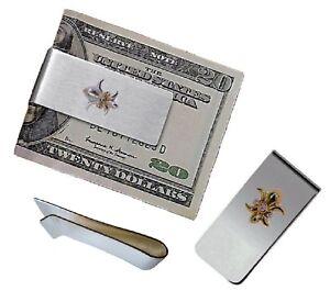 NEW: Fleur de Lis Money Clip-Sterling Silver-Diamonds-18K Gold-Power-Good Luck