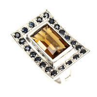 Unheated Honey Cognac Quartz Spinel 925 Sterling Silver Ring Size 7