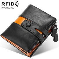 Men's Cowhide 100% Leather Zipper Wallet RFID Blocking ID Card Holder Coin Purse
