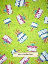 Birthday Party Cake Confetti Toss Green Cotton Fabric QT 23545-H Party On Yard