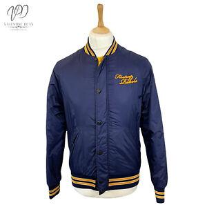 Firetrap Rebel Brook Men Varsity Uni Bomber Jacket Blue Zip-up Size S