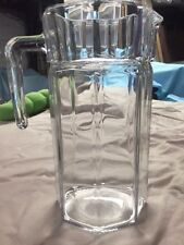 Vintage Pasabahce Clear Glass Octagonal Refrigerator Pitcher Jug Holds 1 1/2 Qts