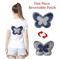 Reversible Farbe Schmetterling Pailletten Bestickt Auf kleider Nähen Patch DIY