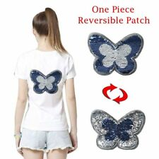 1 x Blue Butterfly Reversible Sequins Embroidered Paillette Patch Applique