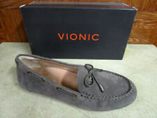 Vionic Women's Virginia Greige Suede Loafer/Driving Moccasins (Taupe) Wide Width