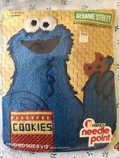 """Vintage 1977 Sesame Street Cookie Monster Needle Point Kit """"9 x 12"""" IOB Unopened"""