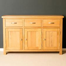 London Oak Large Sideboard / Light Oak 3 Door Cupboard / Solid Wood Robust Unit