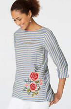 J. Jill - 2X(Plus) - Embroidered Striped Barley/Delft Blue Linen Top - NWT
