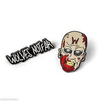 The Walking Dead Official AMC 2 Enamel Pin Set Wolves Not Far Zombie W Forehead