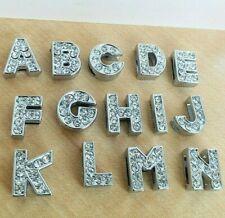 10mm Initial Letter Alphabet Full Diamante Slide Charm Craft DIY Jewlery Making
