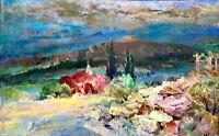 painting art Latunov socrealism vintage decor landscape mountains old Crimea