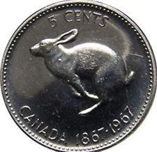 1867-1967 CANADA Centennial FIVE Cent Nickel UNC Rabbit 5 Cents Coin BU