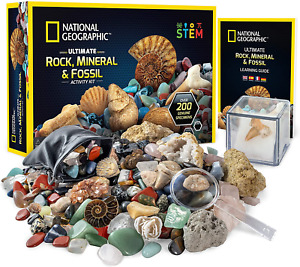 NATIONAL GEOGRAPHIC Rocks  Fossils Kit – 200 Piece Set Includes Geodes, Real Fo