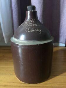 Antique Brown Salt Glaze Stoneware Crock Whiskey Jug By C. L. Anderson Nice