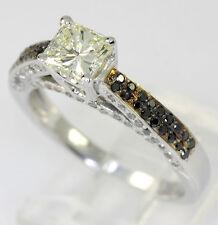 Anillo de compromiso diamante 14K 2 colores oro amarillo princesa blanco negro