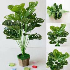 Lifelike Fake Plants Artificial Greenery Tropical Shrubs Monstera Palm Leaves LO