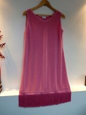 Ladies Together Pink Tassel Thigh Length Slinky Party Dress Size 14, Vgc